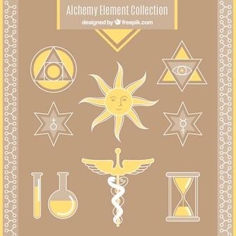 Sammlung der alchemie symbole in der gelben farbe