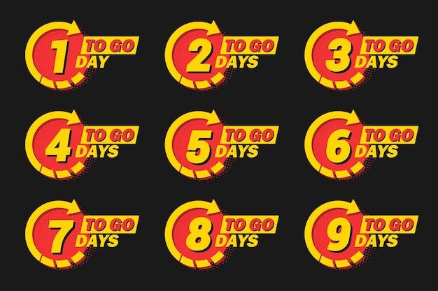 Sammlung der anzahl tage übriger countdown mit pfeil und halbton