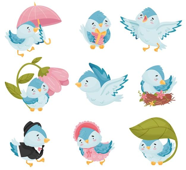 Sammlung der blauen vögel der karikaturen