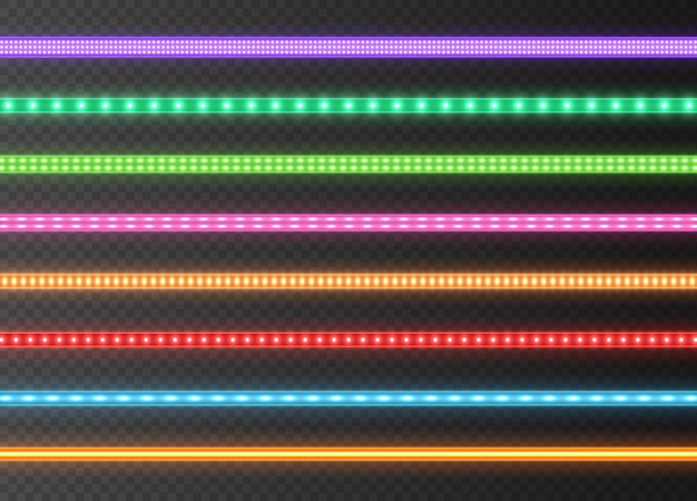 Sammlung der bunten led-streifen, helle leuchtende bänder lokalisiert auf einem transparenten hintergrund. realistische neonlichter, beleuchtete dekorationsbänder eingestellt. illustration.