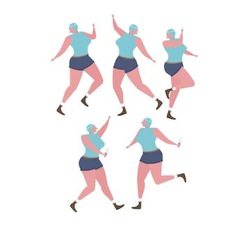 Sammlung der frau tanzend und spaß an einer geburtstagsfeier habend