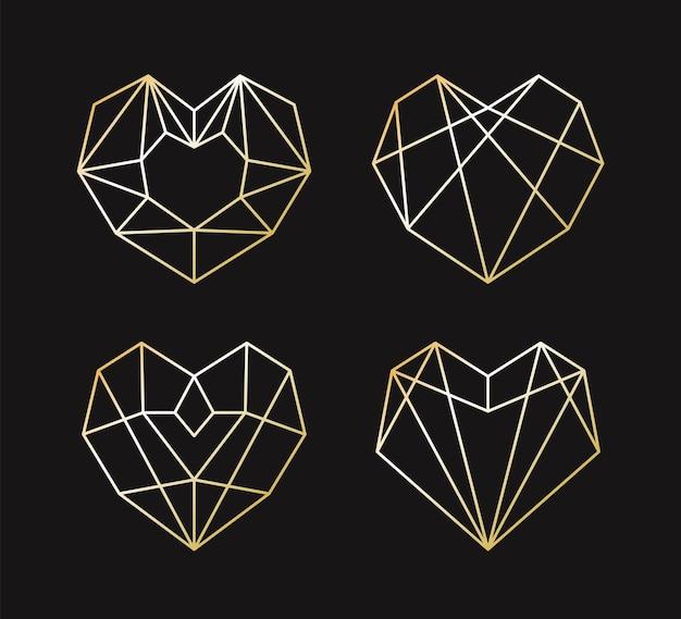 Sammlung der geometrischen goldenen herzform. Premium Vektoren