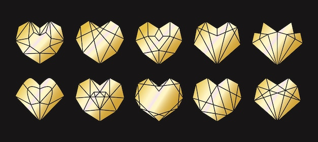 Sammlung der geometrischen goldenen herzform.