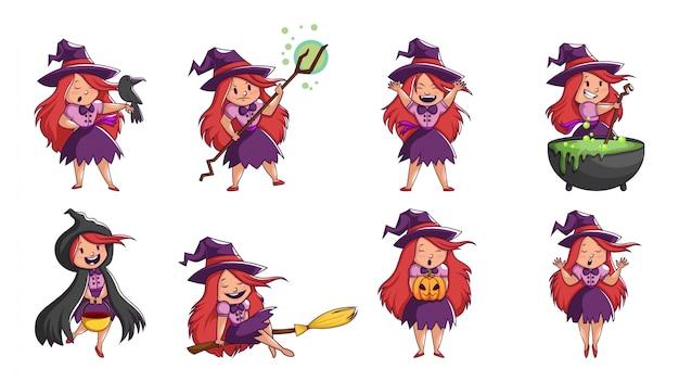 Sammlung der halloween-hexe in den verschiedenen haltungen