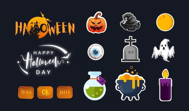 Sammlung der halloween-ikone in der wohnung. nettes ikonendesign. illustration.
