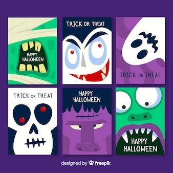 Sammlung der halloween-karte auf flachem design