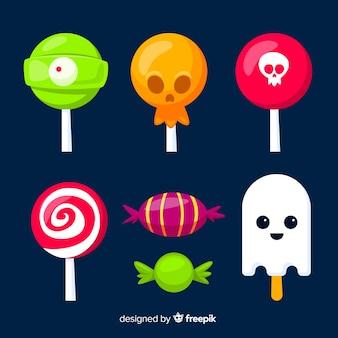 Sammlung der halloween-süßigkeitssammlung auf flachem design