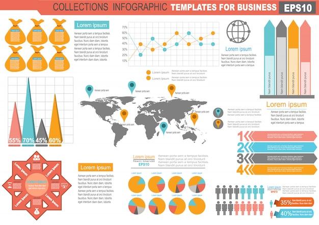 Sammlung der infographic satzelementschablone für geschäft