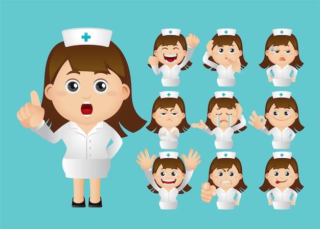 Sammlung der krankenschwester auf blau isoliert