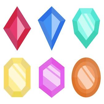 Sammlung der schönen edelsteinikone grafikdesign des glänzenden juwelillustrationsvektorsymbols