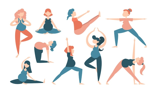 Sammlung der schwangeren frau, die yogaübungen macht