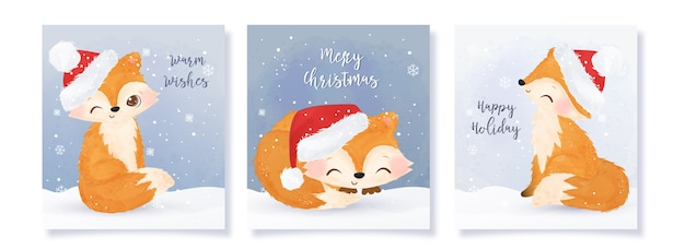 Sammlung der weihnachtsgrußkarte mit entzückenden füchsen