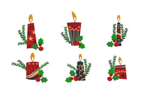 Sammlung der weihnachtskerze im flachen design