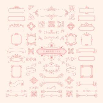 Sammlung der weinlese ornament-rahmenillustration