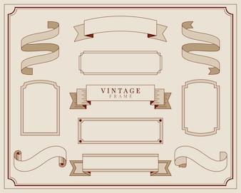 Sammlung der Weinleseverzierungs-Rahmenillustration