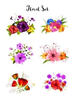 Sammlung des aquarellblumensatzes, künstlerischer blumenstrauß.