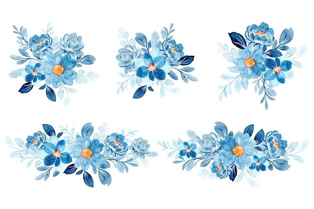 Sammlung des blauen blumenarrangements mit aquarell