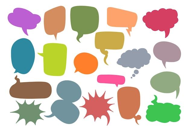 Sammlung des bunten leeren sprachblasenvektors