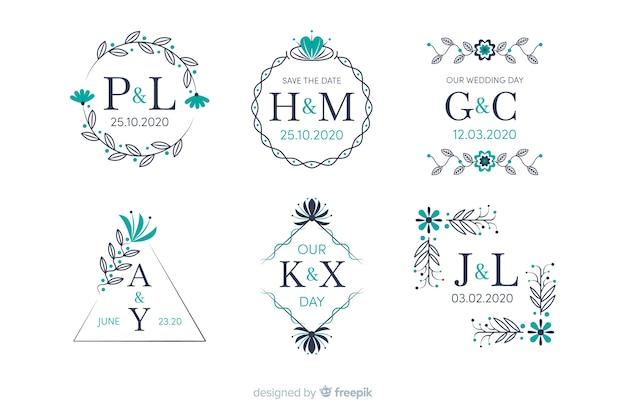 Sammlung des dekorativen hochzeitsmonogramms