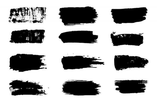 Sammlung des farbenanschlagvektors. grunge abstraktes handgemaltes element. schwarzweiss-anschläge mit einem pinsel.