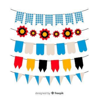 Sammlung des flachen designs der oktoberfestgirlande