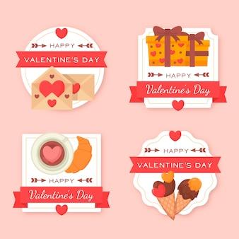 Sammlung des flachen valentinstagaufklebers / -ausweises