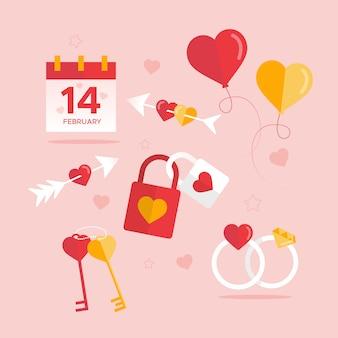 Sammlung des flachen valentinstagelements