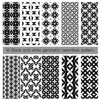 Sammlung des geometrischen nahtlosen schwarzweiss-musters