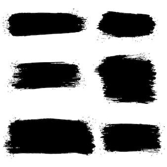 Sammlung des gezeichneten grafischen elements der vektorbürste hand. satz vektorpinselstriche lokalisiert auf weißem hintergrund. vektor-illustration.