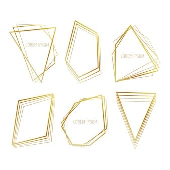 Sammlung des goldenen polygonalen rahmens