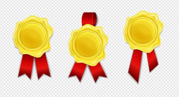 Sammlung des goldenen wachssiegels mit dem roten band lokalisiert. realistische runde retro-briefmarke.