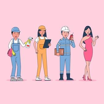 Sammlung des großen satzes isolierte verschiedene berufe oder berufsleute, die professionelle uniform, flache illustration tragen.