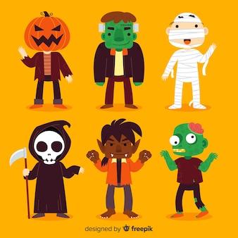 Sammlung des halloween-charakters auf flachem design