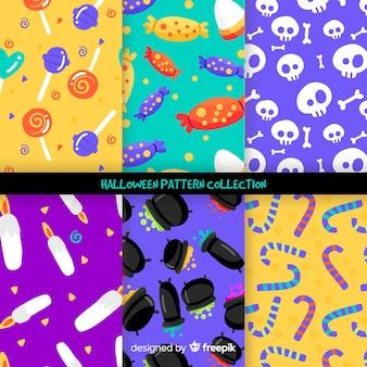 Sammlung des halloween-musters auf flachem design
