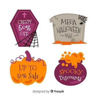 Sammlung des halloween-verkaufsaufklebers im flachen design
