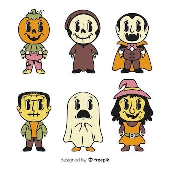 Sammlung des hand gezeichneten halloween-charakters