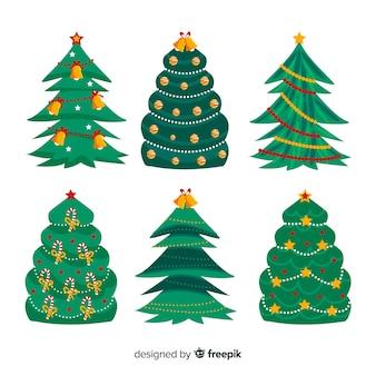 Sammlung des hand gezeichneten weihnachtsbaums