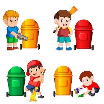 Sammlung des jungen mit dem abfalleimer in den verschiedenen posiert