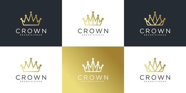 Sammlung des kronenlogos mit luxuslinie kunstlogo-designschablone premium vecto