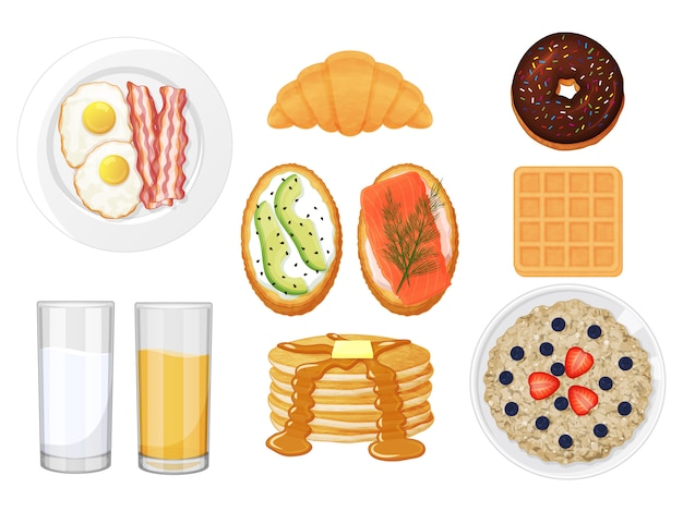 Sammlung des leckeren frühstücks auf einem weißen hintergrund. sandwiches, eier, waffel, pfannkuchen, brei. isoliertes objekt auf weißem hintergrund. cartoon-stil.