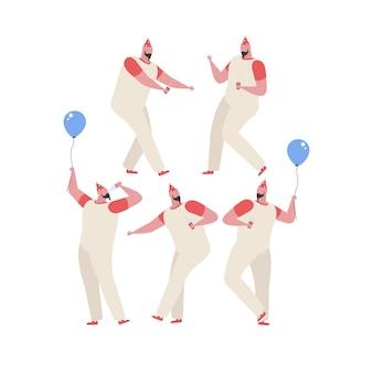 Sammlung des mannes spaß an einer geburtstagsfeier tanzend und habend