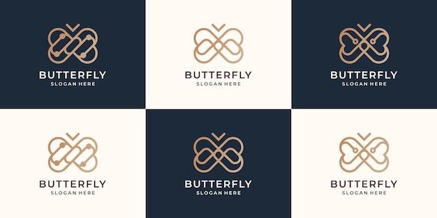 Sammlung des minimalistischen logolinienstils des schmetterlings. kreative schmetterlingsinspirationslogoschablone.