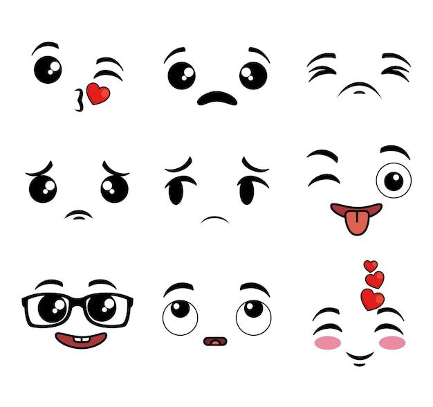 Sammlung des netten emoji karikaturgesichtes