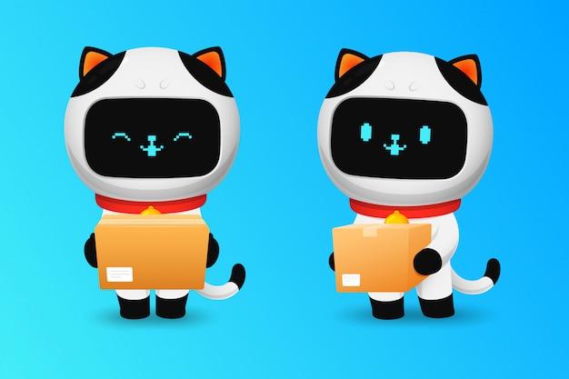 Sammlung des netten katzenrobotercharakters mit paket
