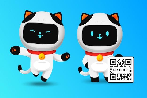 Sammlung des netten katzenrobotercharakters mit qr code
