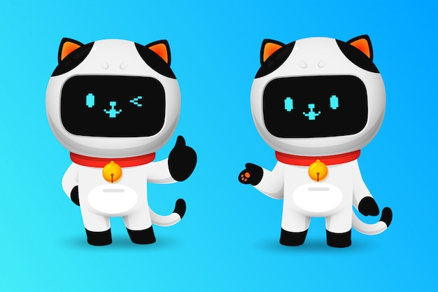 Sammlung des netten katzenrobotercharakters mögen herein aktion