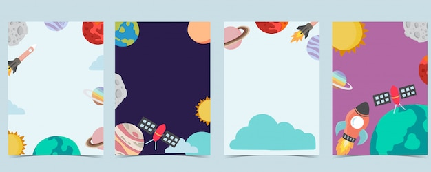 Sammlung des raumhintergrundes eingestellt mit astronaut, planet, mond, stern, rakete. editierbare illustration für website, einladung, postkarte und aufkleber