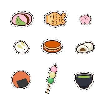 Sammlung des reizenden japanischen nachtischs, nette, entzückende, süße, kawaii karikatur lokalisiert auf weiß