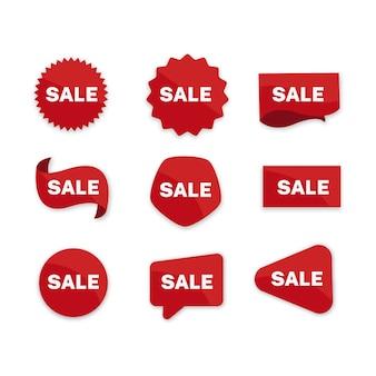 Sammlung des roten verkaufsaufklebers