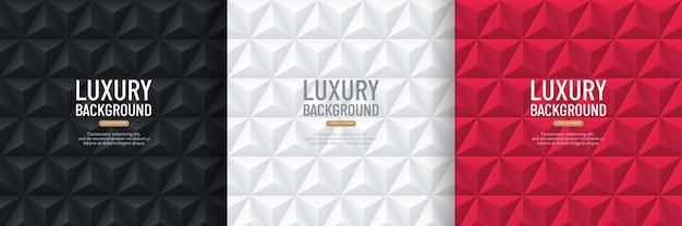 Sammlung des schwarzen, weißen und roten pyramiden-3d-musterhintergrunds.